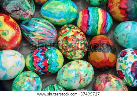 Collection of colourful easter eggs background - stock photo