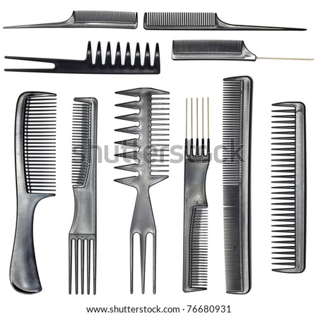collection of combs - stock photo