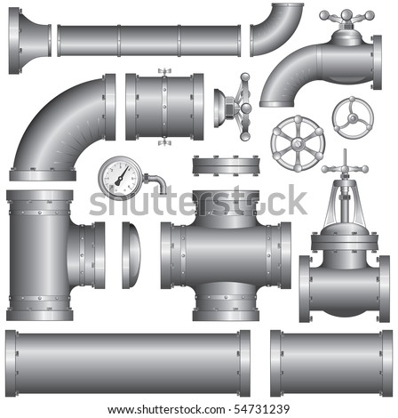 Collection of construction pipes-vector at portfolio - stock photo