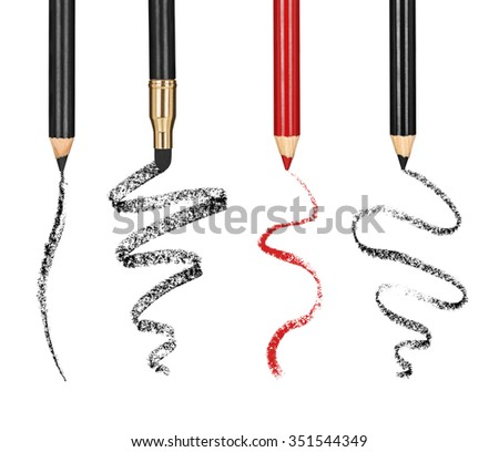 Collection of cosmetic pencil and stroke isolated on white - stock photo