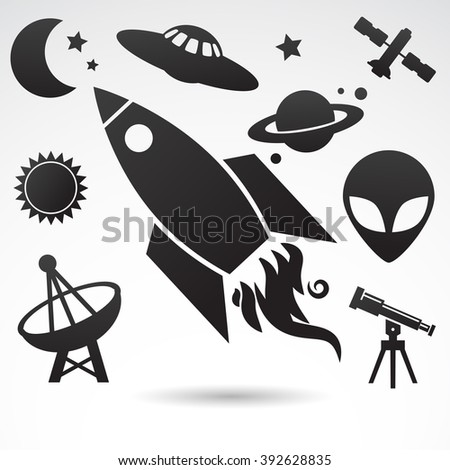 Collection of cosmos, universe icons isolated on white background.
