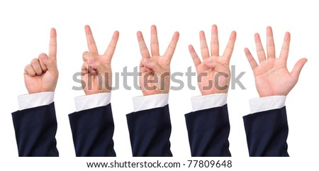 Collection of counting business man's hands isolated on white - stock photo