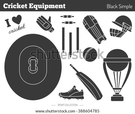 Collection of cricket game equipment silhouettes isolated elements on white background. Black simple style. Professional sport concept and design elements.  - stock photo