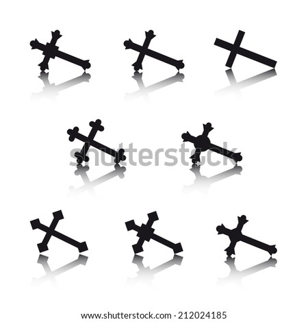 Collection of crosses isolated on white background (Vector version is also available in my portfolio, ID 185544047) - stock photo