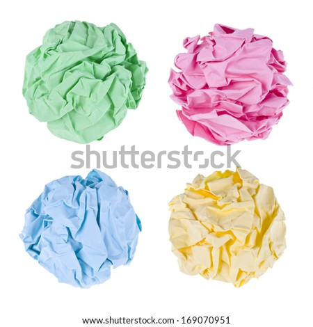 Collection of crumpled paper balls isolated on white - stock photo