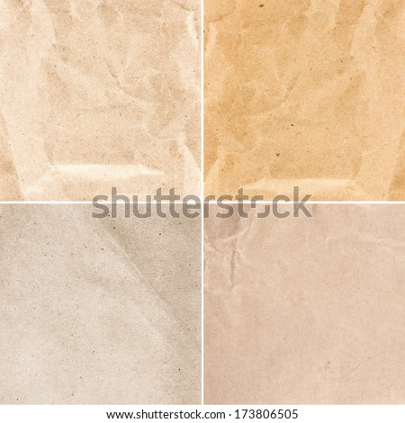 Collection of  Crumpled recycled paper  texture or backgrounds in natural bright pastel colors. Set  of   Vintage craft paper texture. - stock photo