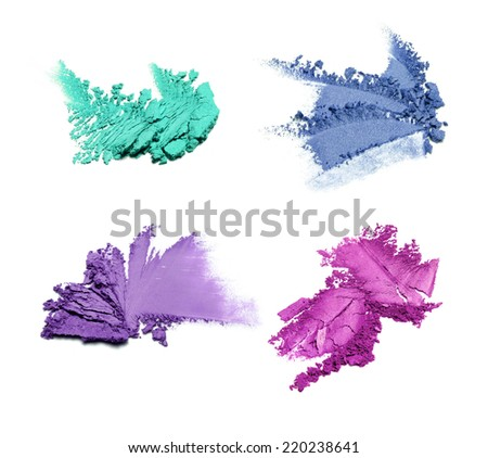 Collection of crushed eyeshadow isolated on white  - stock photo