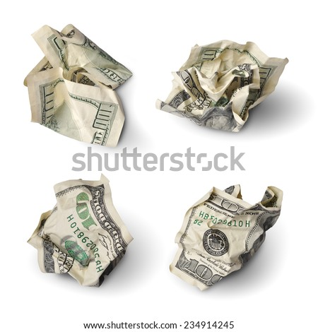 Collection of crushed one hundred dollar bills isolated on white - stock photo