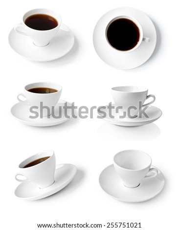 collection of cups of coffee isolated on white background - stock photo