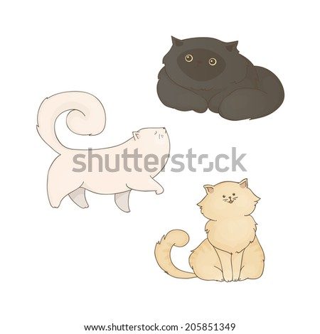 Collection of cute cartoon cats isolated on white - stock photo