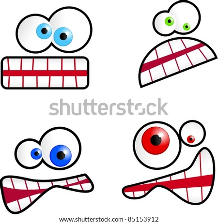 Collection of cute cartoon emoticon faces isolated on white.