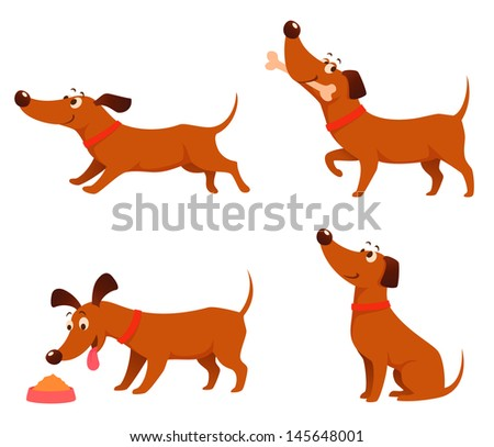 collection of cute cartoon illustrations of a happy playful dog - stock photo