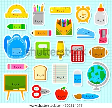collection of cute cartoon school supplies - stock photo