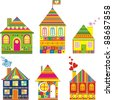 Collection of cute houses in a whimsical childlike style. Isolated on White Background.  Illustration. - stock vector