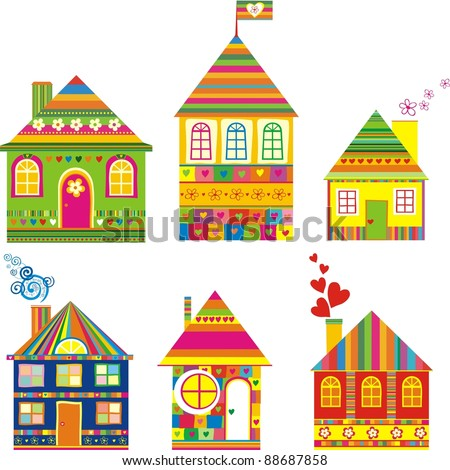 Collection of cute houses in a whimsical childlike style. Isolated on White Background.  Illustration. - stock photo