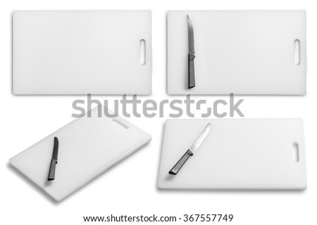 Collection of Cutting board and kitchen knife on a white background - stock photo