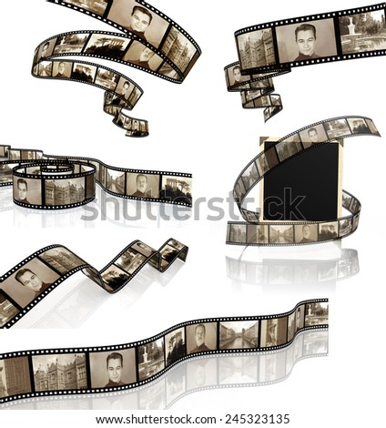 Collection of 3d filmstrips. Objects isolated on white background - stock photo