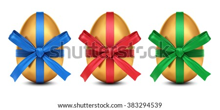 Collection of 3D rendered golden Easter eggs with colorful ribbon bows decoration, isolated on white