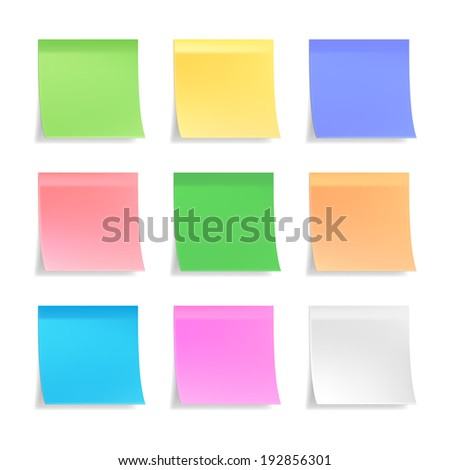 Collection of 3d sticky notes in nine different pastel colors on white with curled bottom edges and shadow  blank for your message or text