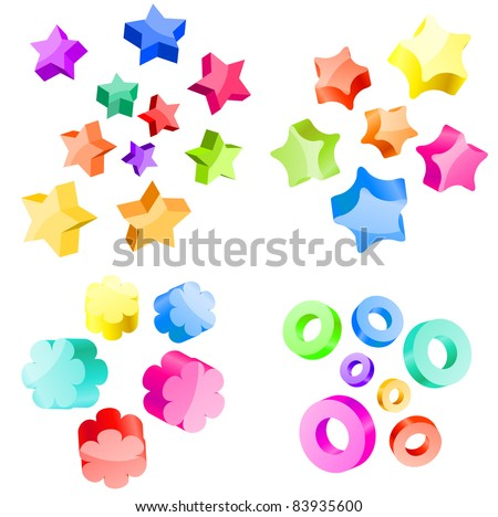 Collection of 3d vector stars and circles. Raster version. - stock photo