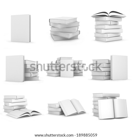 Collection of 3d white books - stock photo
