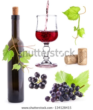 Collection of Dark grapes, bottle and wine glass, Isolated on white background - stock photo