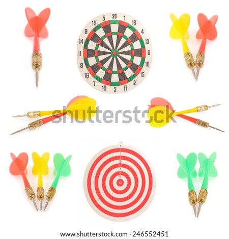 Collection of Dart target and arrows isolated on white background - stock photo