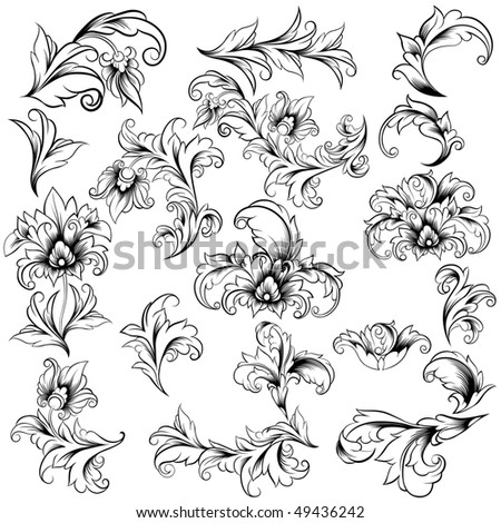 Collection Of Decorative Floral Design Elements, raster version - stock photo