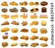 collection of delicious baked buns,pies,cakes and other pastry on a white background - stock photo