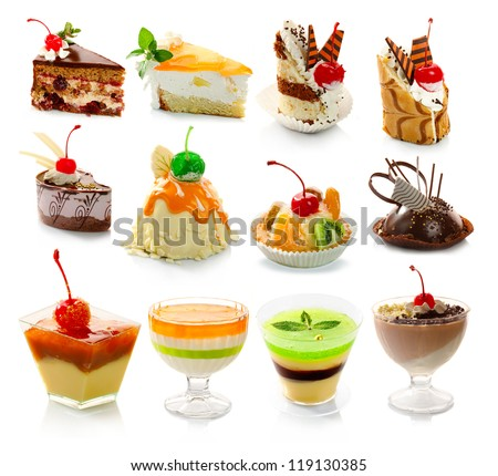 Collection of delicious dessert isolated on white background - stock photo