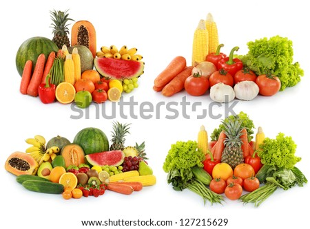 collection of delicious fresh fruits and vegetables isolated on white background