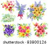 Collection of detailed beautiful bunches of flowers. Raster version. - stock photo