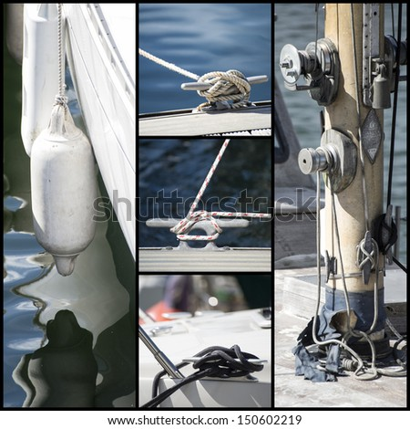 Collection of details from yacht sailboats