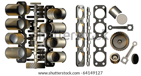 Collection of details of Internal combustion engine  3D - stock photo