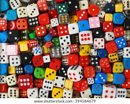 Collection of dice, can be used as a background - stock photo