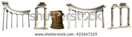 Collection of different ancient Greek columns isolated on a white background - stock photo
