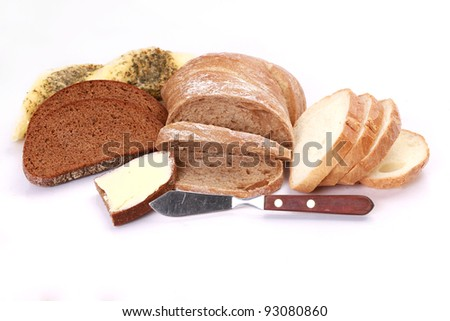 collection of different bread types on white background