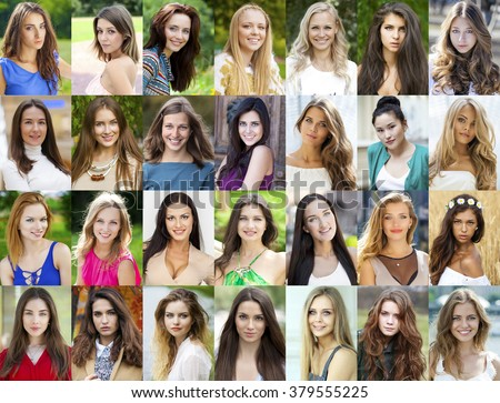 Collection of 28 different caucasian happy women