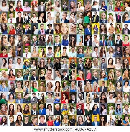 Collection of different caucasian women and men ranging from 18 to 50 years  - stock photo
