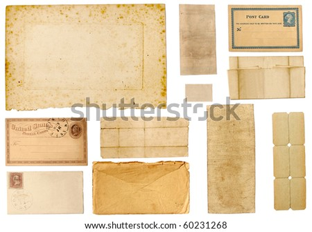 Collection of different character filled, yellowed, antique papers.