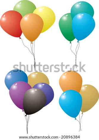 Collection of different colored balloons in four set tied together with string