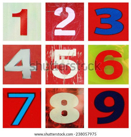 Collection of different colors and texture number one to nine. - stock photo
