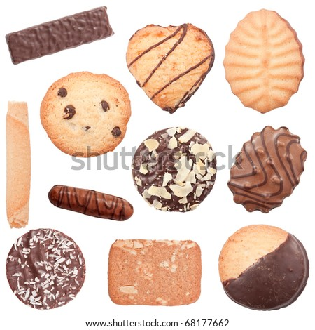 Collection of different cookies, isolated on a white background - stock photo