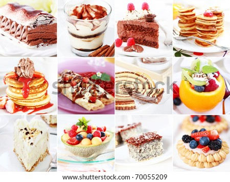 Collection of different delicious desserts and cakes - stock photo