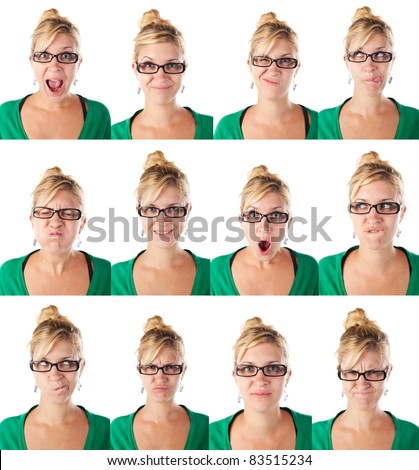collection of different faces of cute and attractive young girl with glasses - stock photo