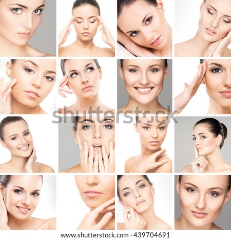 Collection of different female spa portraits. Face lifting, plastic surgery and makeup concept. - stock photo