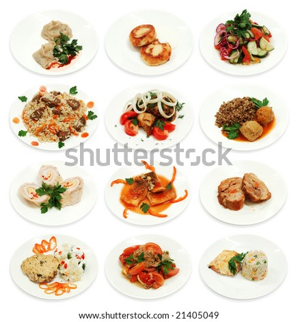 Collection of different food isolated on a white background. Look for more in MY PORTFOLIO - stock photo