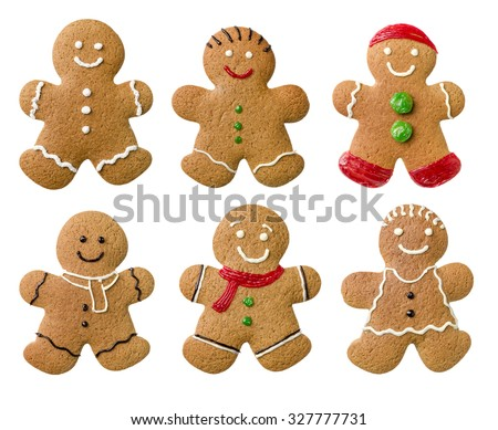 Collection of different gingerbread men on a white background - stock photo