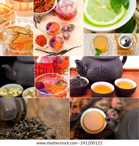 collection of different herbal tea infusion collage white frame  - stock photo