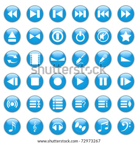 Collection of different icons for using in web design. Music. - stock photo